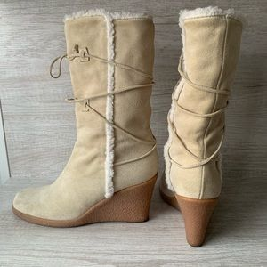 Michael Kors Suede Mid-Calf Wedge Boots (Size 8)